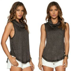 WE THE FREE Sleeveless Raw Edge Cowl Neck Top